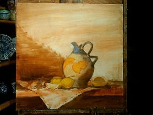 vida ainda demonstração de pintura a óleo