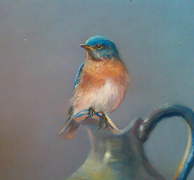 pintura a óleo bluebird
