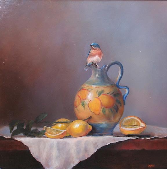 Jarro italiano e pintura a óleo de limão com bluebird